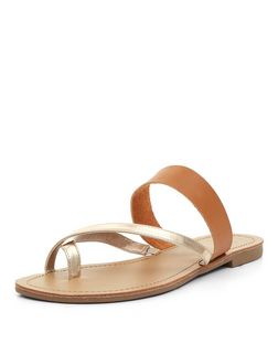 Wide Fit Tan Gold Metallic Cross Strap Sandals  | New Look