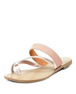 Wide Fit Pink Gold Metallic Cross Strap Sandals  | New Look