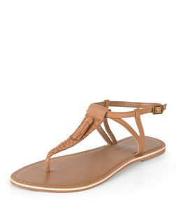 Wide Fit Tan Woven Tassel Sandals | New Look
