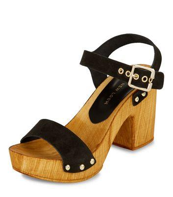 Sandalo  donna Black Leather Wooden Block Heel Sandals