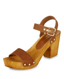 Tan Leather Wooden Block Heel Sandals  | New Look