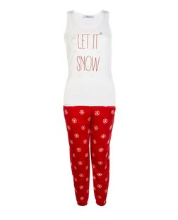 Teens Red Let It Snow Print Fleece Pyjamas Set  | New Look