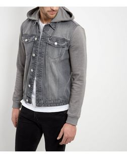 Grey Jersey Sleeve Hooded Denim Jacket  | New Look