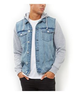 Blue Jersey Sleeve Hooded Denim Jacket  | New Look