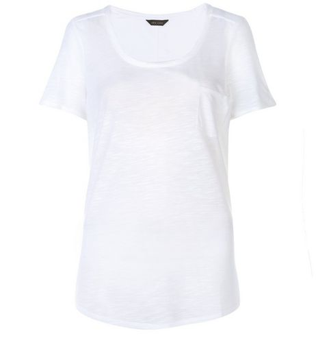 White Pocket Front T-Shirt  | New Look
