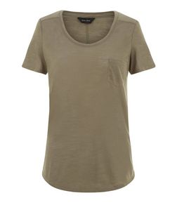 Khaki Pocket Front T-Shirt  | New Look
