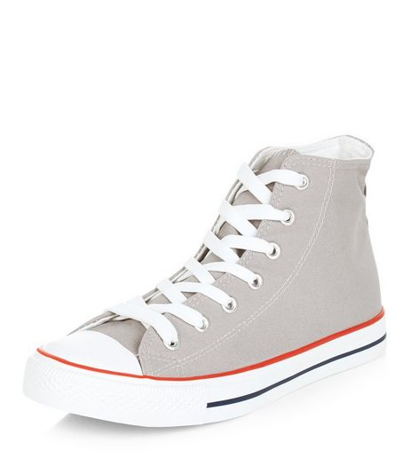 Grey Lace Up Hi-Top Plimsolls  | New Look