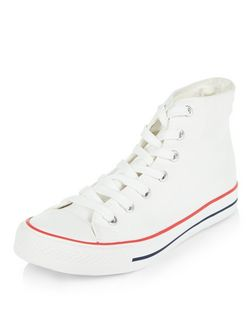 White Lace Up Hi-Top Plimsolls | New Look