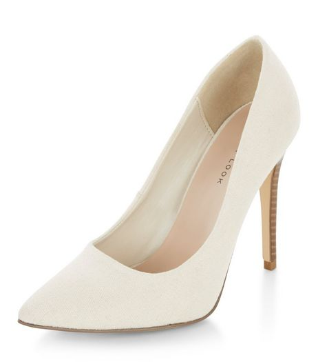 Stone Canvas Pointed Heels  | New Look