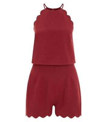 Burgundy Scallop Hem Playsuit