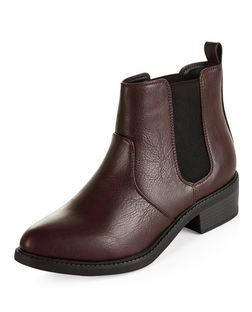 Dark Red Pointed Chelsea Boots  | New Look