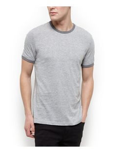 Grey Contrast Collar T-Shirt | New Look