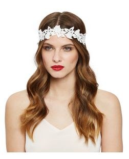 White Floral Crochet Elastic Headband  | New Look