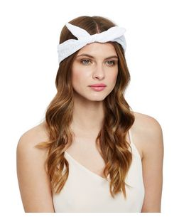 White Broderie Floral Wire Headband | New Look