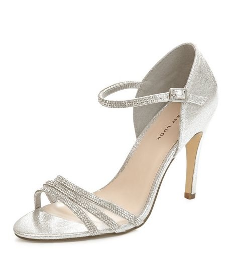 Silver Embellished Ankle Strap Heels  | New Look