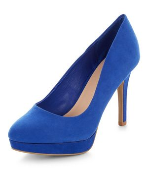 wide fit bright blue platform court shoes