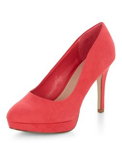 Wide Fit Bright Pink Platform Court Shoes  | New Look