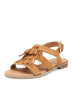 Tan Leather Tassel Front Sandals  | New Look