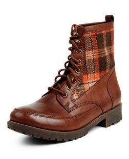 Tan Check Panel Lace Up Boots  | New Look