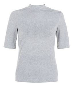 Grey Ribbed Stripe High Neck 3/4 Sleeve Top  | New Look