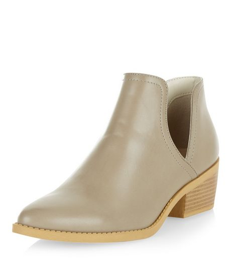 Grey Cut Out Ankle Boots | New Look