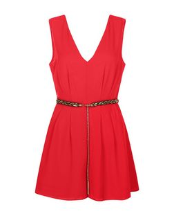 Red V Neck Belted Sleeveless Playsuit | New Look