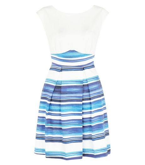Closet Blue Contrast Stripe V Back Skater Dress  | New Look