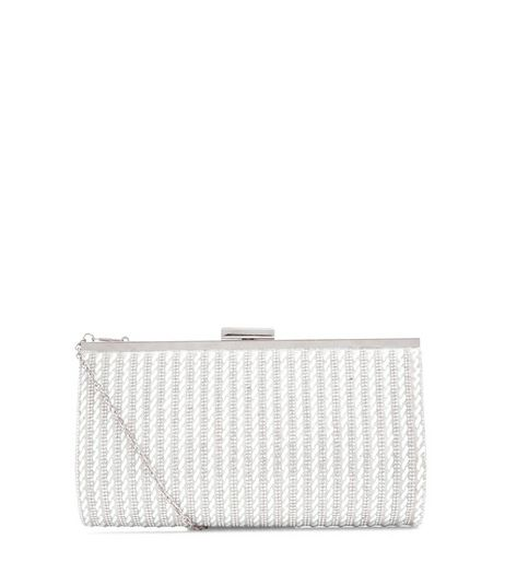 Silver Beaded Clutch Bag | New Look