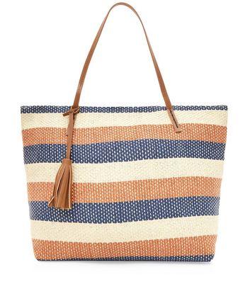 Camel Stripe Tassel Strap Tote Bag