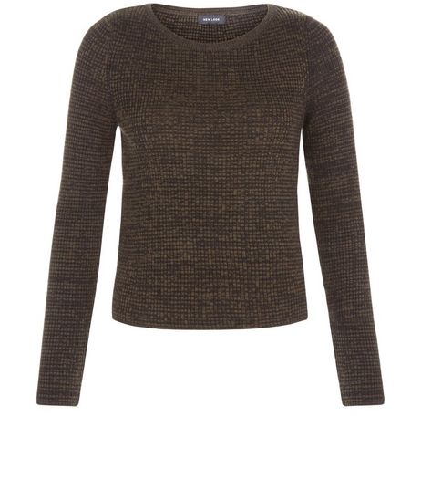Khaki Space Dye Ribbed Jumper  | New Look