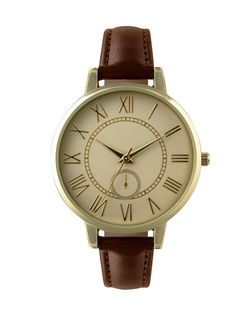 Brown Stitch Strap Watch  | New Look