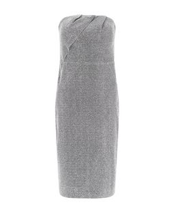 Silver Metallic Bandeau Bodycon Dress  | New Look
