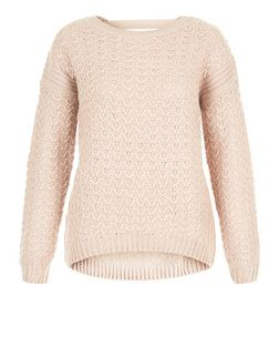 Shell Pink Chunky Stitch Bar Back Jumper  | New Look