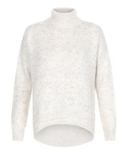 Stone Funnel Neck Curved Hem Jumper  | New Look