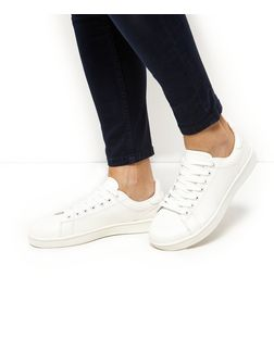 White Snakeskin Textured Trainers  | New Look