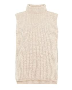 Shell Pink Twist Knit Sleeveless Jumper  | New Look