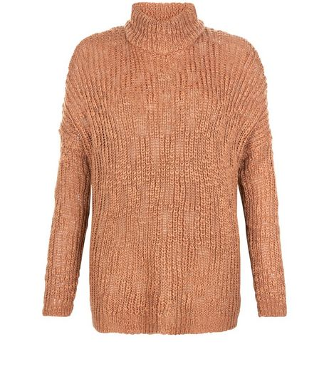 Tan Textured Turtle Neck Slub Jumper  | New Look