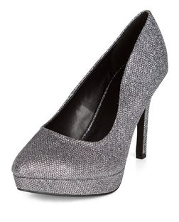 Wide Fit Silver Glitter Court Heels | New Look