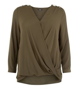 Plus Size Khaki D-Ring Shoulder Wrap Front Top  | New Look