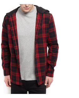 Red Jersey Check Hooded Long Sleeve Shirt  | New Look
