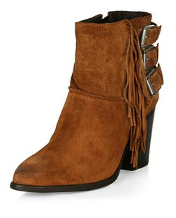 Tan Fringe Buckle Heel Boots  | New Look