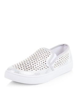 Silver Laser Cut Out Slip On Plimsolls  | New Look