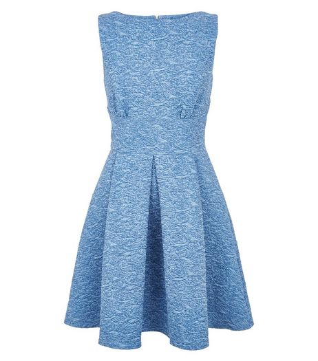 Closet Blue Denim Textured Skater Dress | New Look