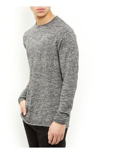 Grey Raw Hem Jumper  | New Look