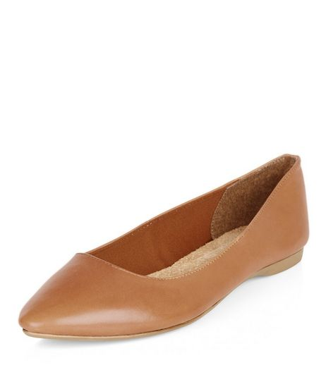 Wide Fit Tan Leather Pointed Flats  | New Look