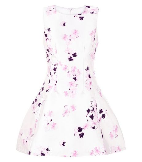 AX Paris Grey Floral Print Skater Dress | New Look