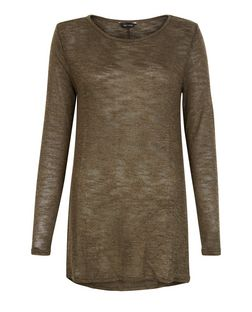 Khaki Fine Knit Swing Tunic Top | New Look