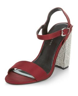 Wide Fit Dark Red Glitter Heel Sandals | New Look