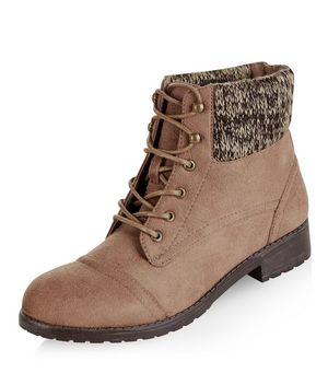 light brown knitted cuff lace up ankle boots