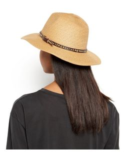 Stone Studded Band Straw Fedora | New Look